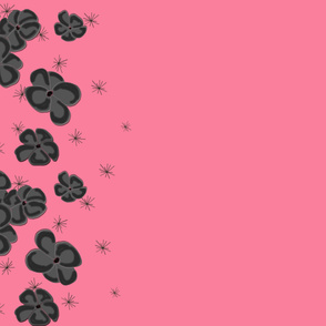 Black and Gray Painted Poppies on Pink