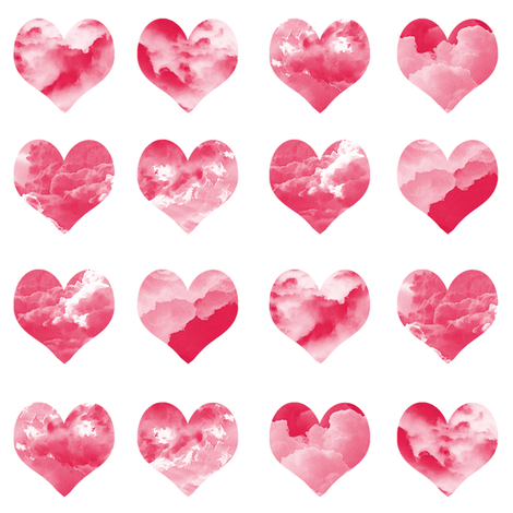 """2"""" watercolor hearts fabric.  watercolor hearts fabric - valentines day fabric, valentines fabric, watercolor girly fabric - red fabric by charlottewinter on Spoonflower - custom fabric"""