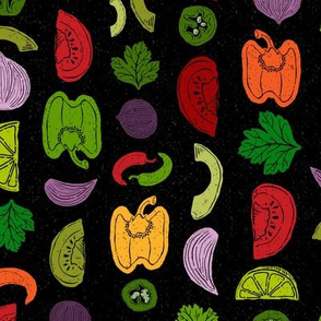 Mexican Veggies Garden Stripe // Peppers, Tomatoes, Onions, Lime, Jalapeno, Cilantro, Tomatillo, Avocado, Guacamole // Spanish Farmer's Market