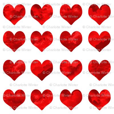 "1"" watercolor hearts fabric.  watercolor hearts fabric - valentines day fabric, valentines fabric, watercolor girly fabric -  deep red"