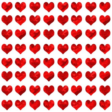 "1"" watercolor hearts fabric.  watercolor hearts fabric - valentines day fabric, valentines fabric, watercolor girly fabric -  deep red fabric by charlottewinter on Spoonflower - custom fabric"