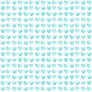 "1/4"" tiny watercolor heart fabric - micro print, mini print, cute tiny watercolors hearts - aqua"