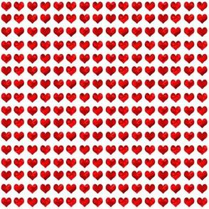 "1/4"" tiny watercolor heart fabric - micro print, mini print, cute tiny watercolors hearts -  deep red"