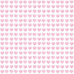 "1/4"" tiny watercolor heart fabric - micro print, mini print, cute tiny watercolors hearts - pastel pink"