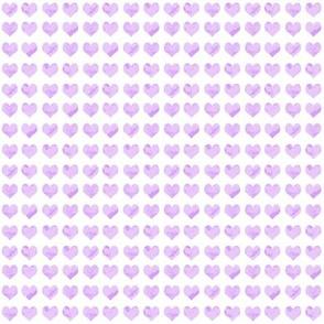 "1/4"" tiny watercolor heart fabric - micro print, mini print, cute tiny watercolors hearts - lavender"