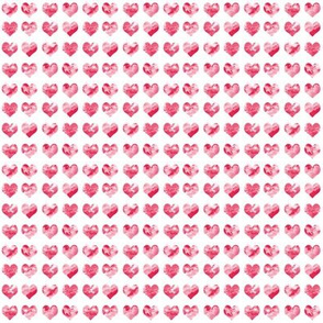 "1/4"" tiny watercolor heart fabric - micro print, mini print, cute tiny watercolors hearts - red"