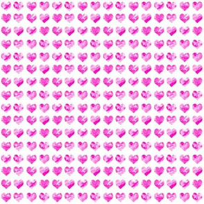 "1/4"" tiny watercolor heart fabric - micro print, mini print, cute tiny watercolors hearts - bright pink"