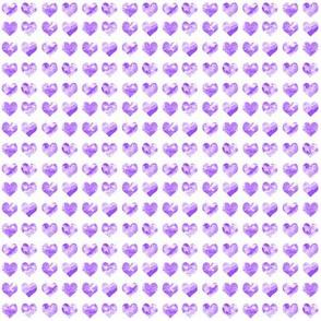 "1/4"" tiny watercolor heart fabric - micro print, mini print, cute tiny watercolors hearts - bright purple"
