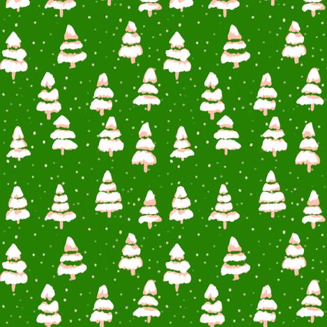 folk tree - green fabric by alison_janssen on Spoonflower - custom fabric