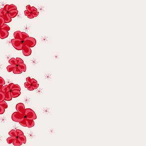 Red Painted Poppies on Cream