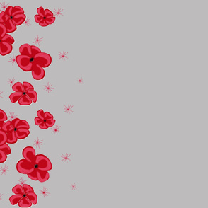 Red Painted Poppies on Gray