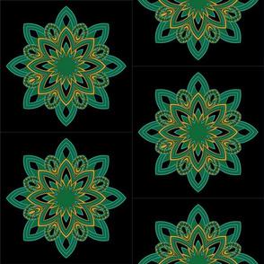 Mandala - Seedpod Green and Gold - Medium Scale