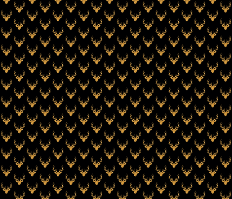 """1"""" painted stag head - gold and black fabric by sugarpinedesign on Spoonflower - custom fabric"""