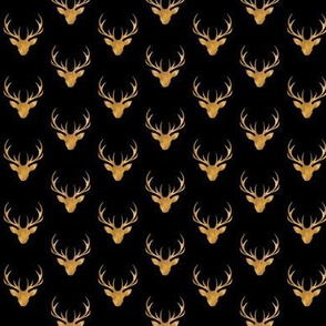 """1"""" painted stag head - gold and black"""
