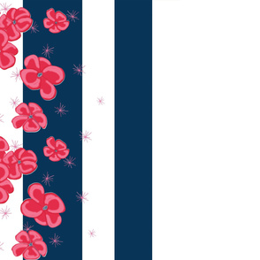 Red Painted Poppies on Navy and White