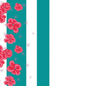 Red Painted Poppies on Teal and White