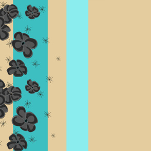 Black & Gray Painted Poppies on Aqua and Teal and Tan
