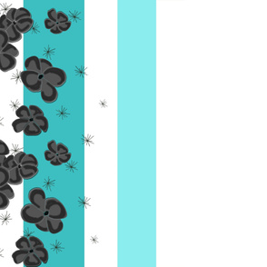 Black & Gray Painted Poppies on Aqua and Teal and White