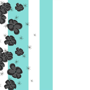 Black & Gray Painted Poppies on Aqua and White