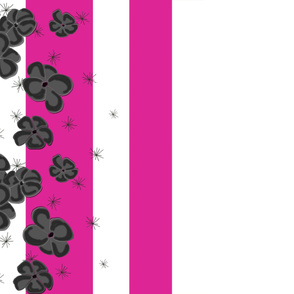 Black & Gray Painted Poppies on Fuchsia and White