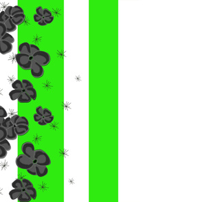 Black & Gray Painted Poppies on Green and White