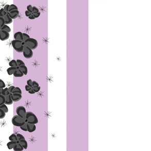 Black & Gray Painted Poppies on Lilac and White