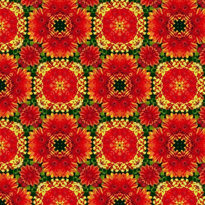 Red & Yellow Flower Circles Pattern
