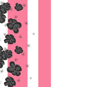 Black & Gray Painted Poppies on Pink and White