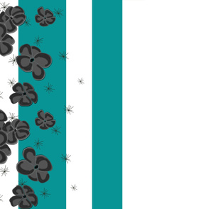 Black & Gray Painted Poppies on Teal and White