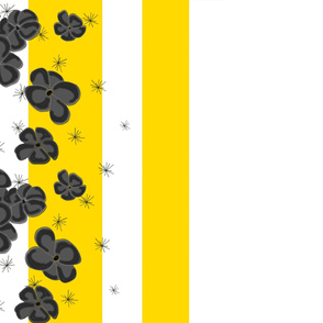 Black & Gray Painted Poppies on Yellow and White