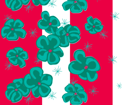 Teal Painted Poppies on Red and White fabric by barbaramarrs on Spoonflower - custom fabric