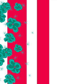 Teal Painted Poppies on Red and White