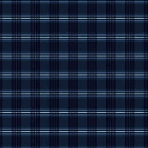 Indigo Blue Tartan Stripes Chequered Woven