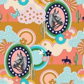Pinto* (Sunset) || horse western 70s 1970s seventies pop art clouds stars cactus butterfly butterflies flower flowers mustard coral aqua mint groovy cowboy cowgirl desert prairie