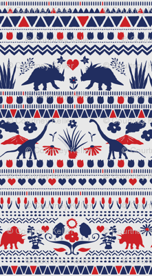 Folk Dino Navy & Red on Light Grey