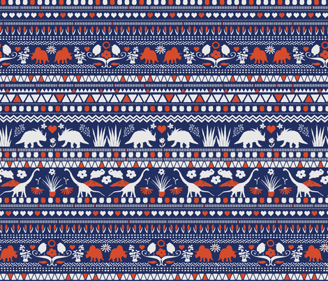 Folk Dino Light Grey & Red on Navy fabric by onelittleprintshop on Spoonflower - custom fabric
