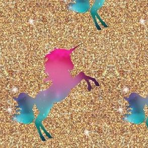 Gold Glitter Ombre Unicorn