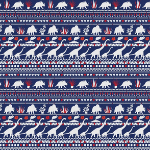 Folk Dino Light Grey & Red on Navy