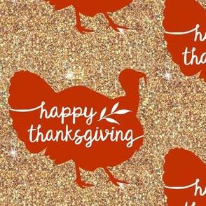 Gold Glitter Thanksgiving Turkey