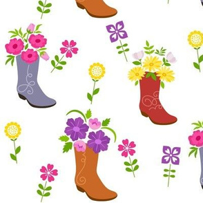 Tossed Floral Cowboy Boots