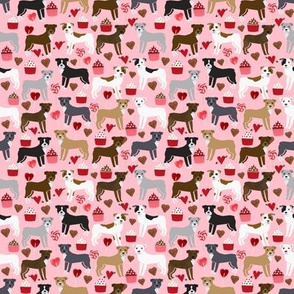 SMALL - pitbull terriers dog love fabric cute valentines cupcakes and hearts fabric design