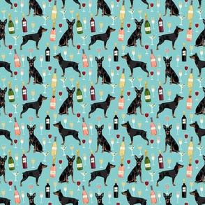 SMALL - min pin wine fabric miniature pinscher dog champagne bubbly design - light blue