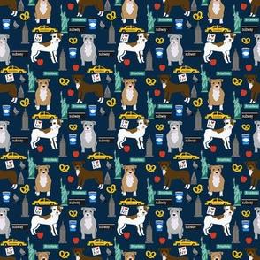 SMALL - pitbull new york fabric pibble dog in nyc design - dark navy