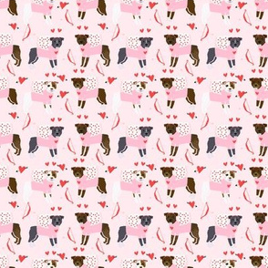 SMALL - pitbull love bug cupid dog breed fabric pitbulls pink