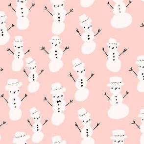 Snowmen - white on pink