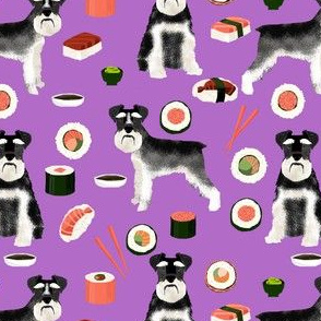 Schnauzer and sushi pattern fabric - dog pattern fabric, sushi fabric, dog fabric, schnauzer dog fabric - purple