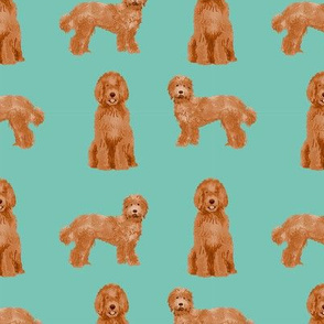 labradoodle dog pattern fabric - apricot labradoodle design, apricot dog, dog breed fabric, dog breeds fabric, cute dog - blue