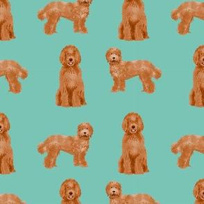labradoodle dog pattern fabric - apricot labradoodle design, apricot dog, dog breed fabric, dog breeds fabric, cute dog - blue