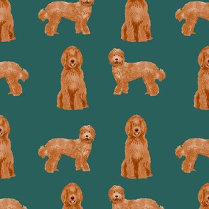 labradoodle dog pattern fabric - apricot labradoodle design, apricot dog, dog breed fabric, dog breeds fabric, cute dog -  dark green