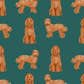 labradoodle dog pattern fabric - apricot labradoodle design, apricot dog, dog breed fabric, dog breeds fabric, cute dog -  dark green